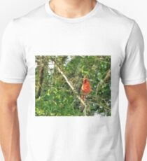 Red Bird In A Tree Unisex T-Shirt