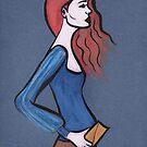 Red Hair on Blue by Anita Ristovski