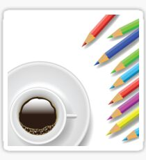 coffee cup and pencils Sticker