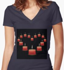 pink candles Women's Fitted V-Neck T-Shirt