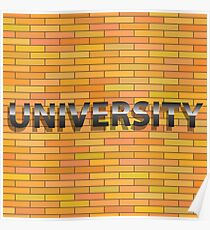 university text sign on orange brick wall Poster