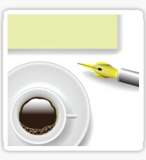 Illustration with cup of coffee on a white background Sticker