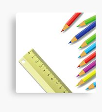 ruler and pencils Canvas Print