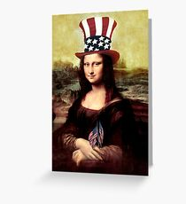 Patriotic Mona Lisa Greeting Card
