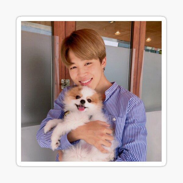 ¡BTS Jimin con un lindo perro! Pegatina