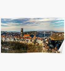 Old medieval city Fribourg on the hill, Switzerland, sunset time, panoramic view Poster