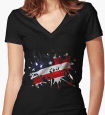 Stars and Sripes Splatter Women's Fitted V-Neck T-Shirt