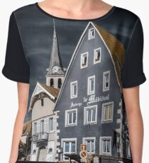 Editorial: 30th March 2017: Ville, France. Infrared view of village street Chiffon Top
