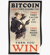Bitcoin - First They Ignore You Poster
