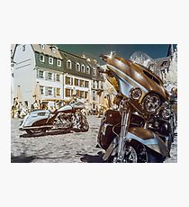 Beautiful motorcycle on the old street of Strasbourg historic center, France Photographic Print