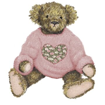 Teddy Bear with Pink Jumper by JALArt