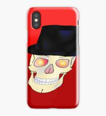 Skull with Top Hat on gradient red iPhone Case