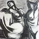 Three Graces In Black And White - Female Nude by CarmenT
