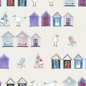 Beach Huts, Bournemouth - on grey - original watercolour pattern by Cecca Designs by Cecca-Designs