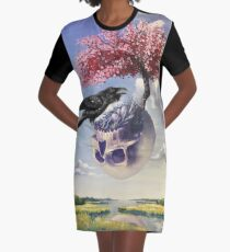 """""""Secondhand"""" Original Oil Painting with Raven and Floating Skull Graphic T-Shirt Dress"""