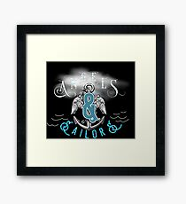 Angels And sailors Classic Rock And Roll Vintage Anchor And Wings Sea Sailing Dark Retro Design Framed Print