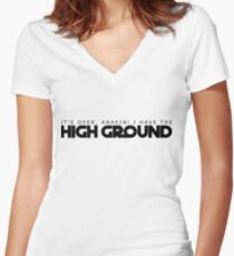 High Ground Prequel Memes Women's Fitted V-Neck T-Shirt
