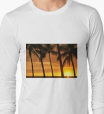Hawaiian Golden Sunset Through Silhouetted Palm Trees Long Sleeve T-Shirt