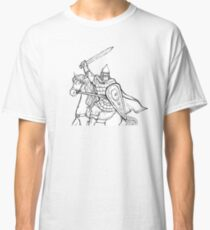 warrior with sword in armor and helmet on horse Classic T-Shirt
