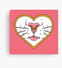 Tough Love - Cute Cats Nose - Bold Illustration Canvas Print