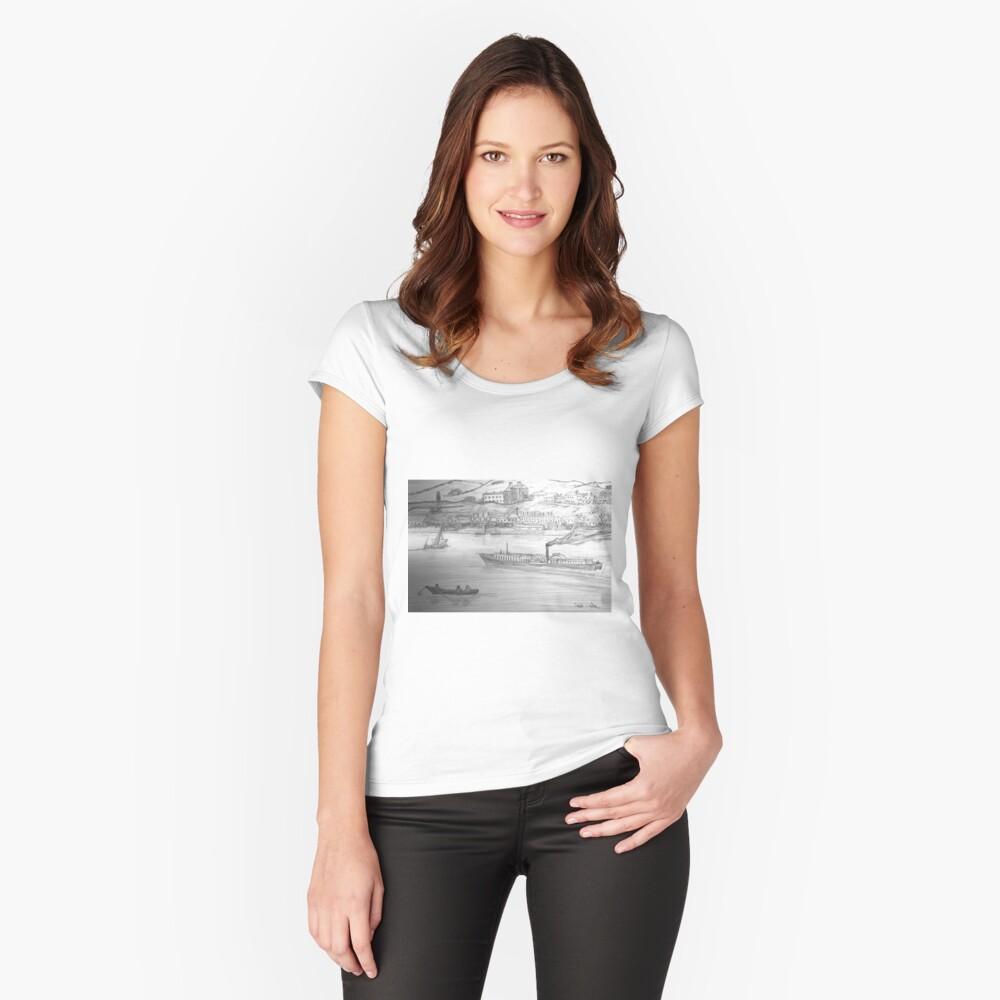My Pencil Drawing of a Paddle Steamer on the Danube Women's Fitted Scoop T-Shirt Front