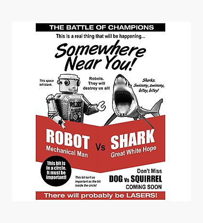 Robot vs. Shark Photographic Print