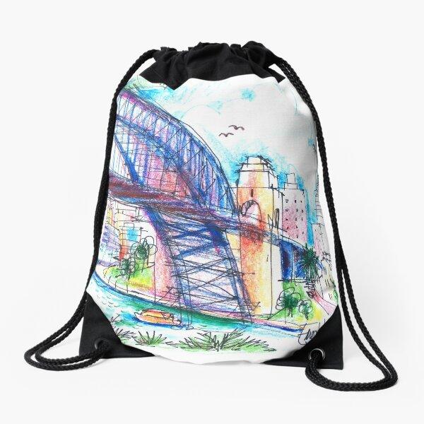 Sydney Harbour Bridge and boats Drawstring Bag
