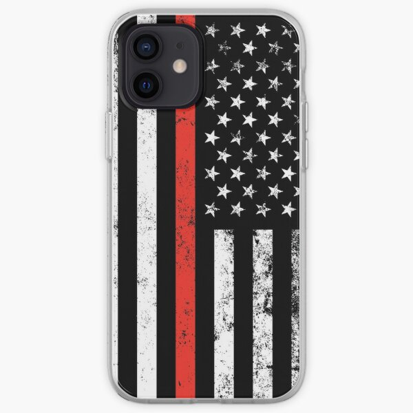 Patriotic Firefighter Style Thin Red Line Flag iPhone Soft Case