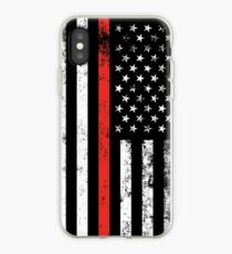 Patriotic Firefighter Style Thin Red Line Flag iPhone Case