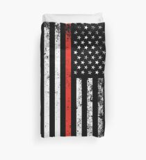 Patriotic Firefighter Style Thin Red Line Flag Duvet Cover