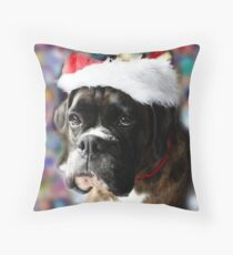 The Colour Of Christmas - Boxer Dogs Series Throw Pillow