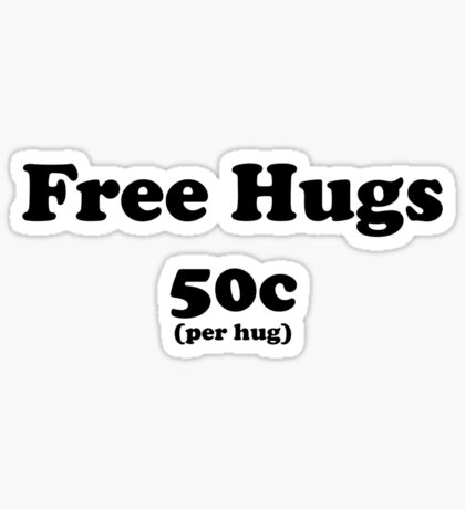 free hugs white/colour Sticker