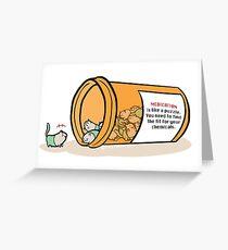 Pill Cats' WARNING Label Greeting Card