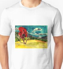 autumn landscape with red tree Unisex T-Shirt