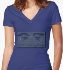 """Watchful Vigil"" Women's Fitted V-Neck T-Shirt"
