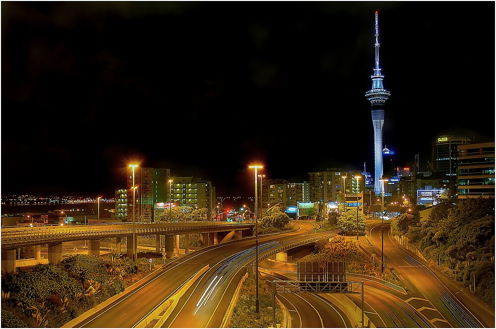 Auckland City At Night by amkphotography