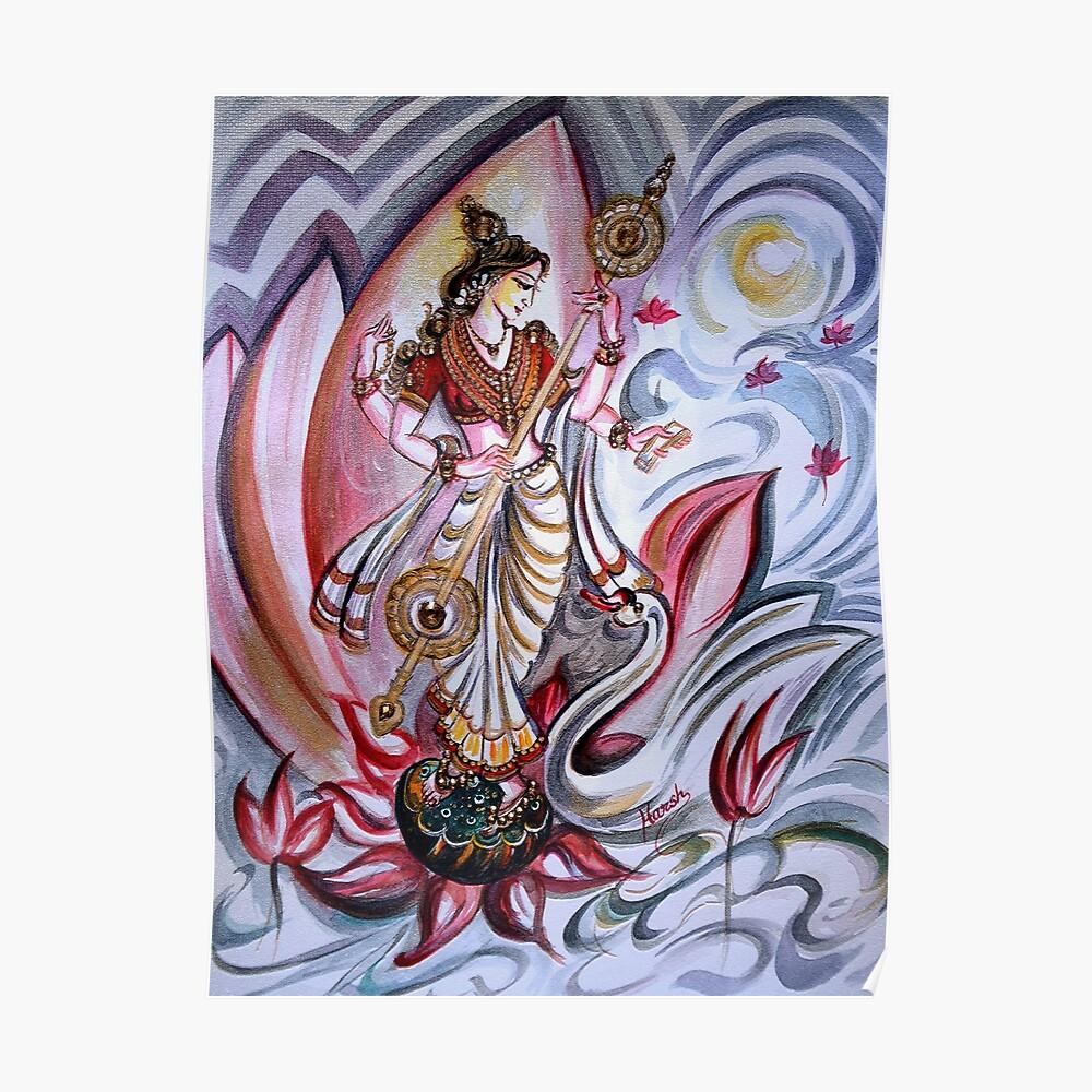 Musikalische Göttin Saraswati - Heilkunst Poster