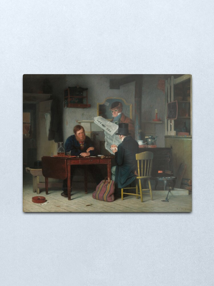 Alternate view of Waiting for the Stage Oil Painting by Richard Caton Woodville Metal Print