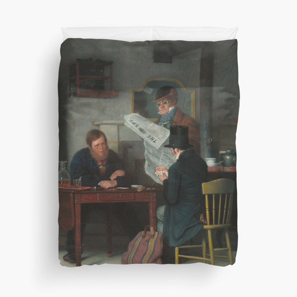 Waiting for the Stage Oil Painting by Richard Caton Woodville Duvet Cover
