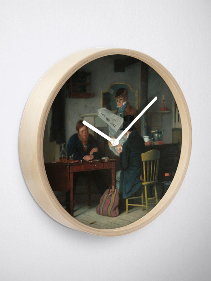 Alternate view of Waiting for the Stage Oil Painting by Richard Caton Woodville Clock