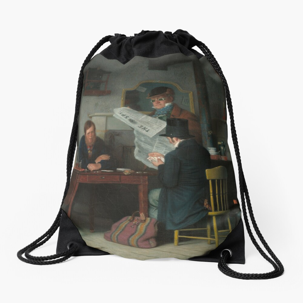 Waiting for the Stage Oil Painting by Richard Caton Woodville Drawstring Bag