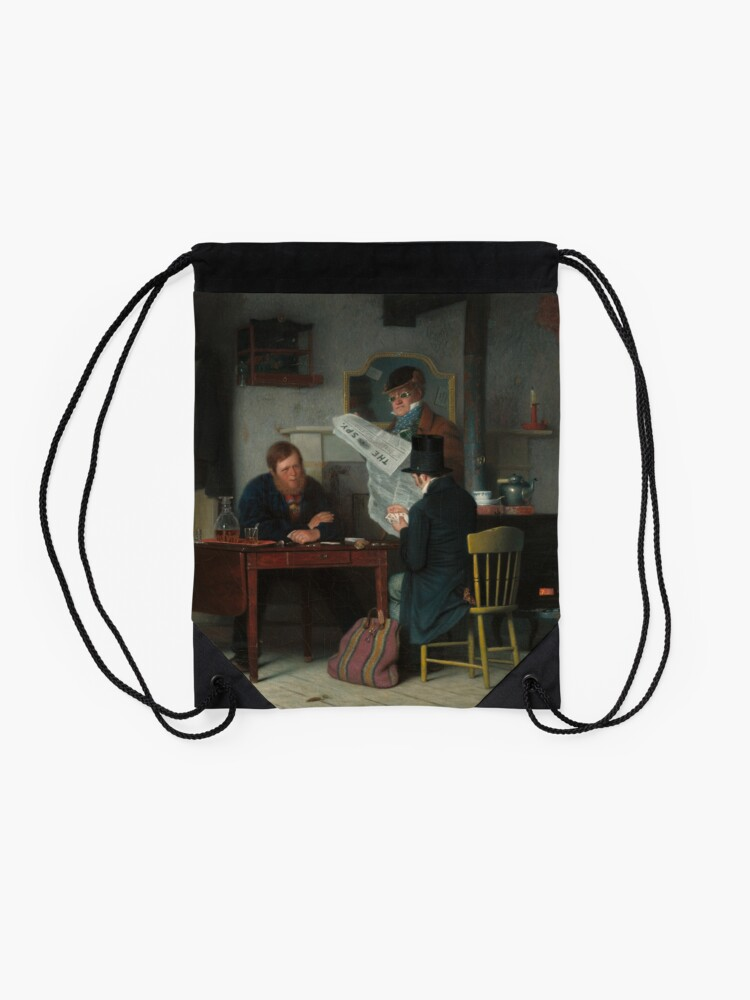 Alternate view of Waiting for the Stage Oil Painting by Richard Caton Woodville Drawstring Bag
