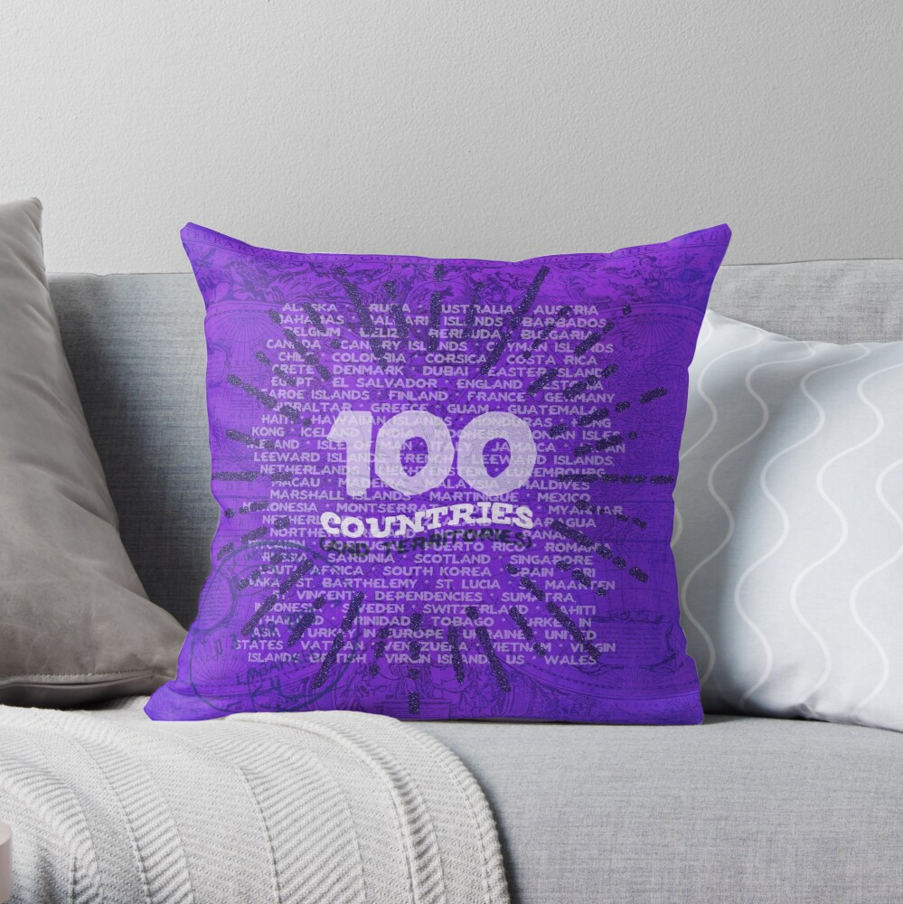 100 Countries - Purple Edition Throw Pillow