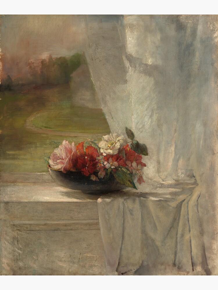 Flowers on a Window Ledge Oil Painting by John La Farge by podartist