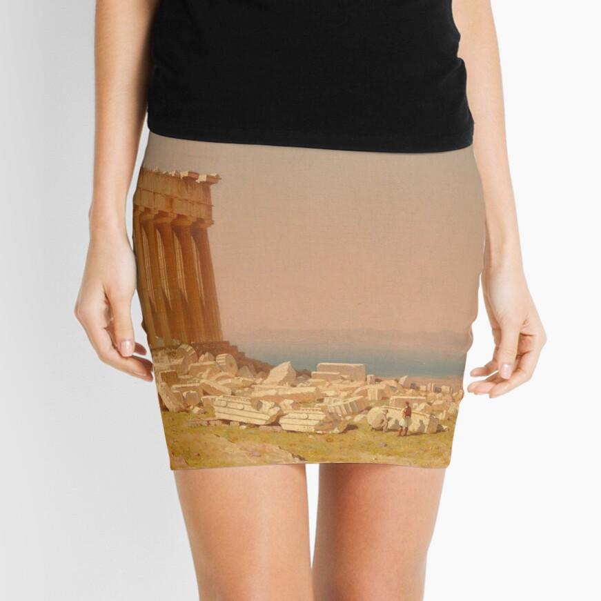 Ruins of the Parthenon Oil Painting by Sanford Robinson Gifford Mini Skirt