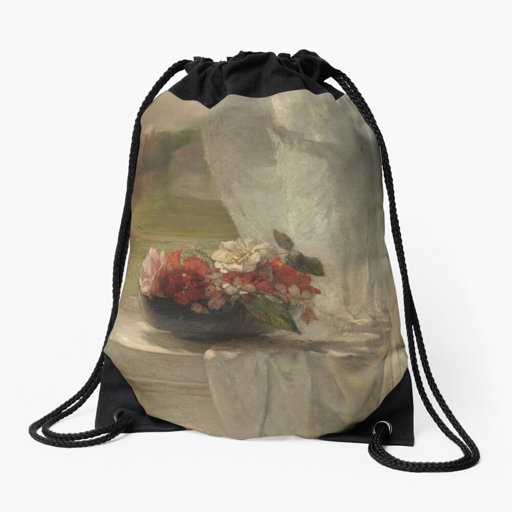 Flowers on a Window Ledge Oil Painting by John La Farge Drawstring Bag
