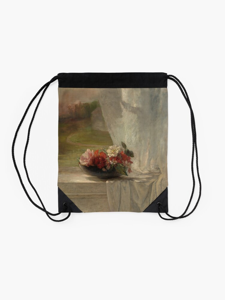 Alternate view of Flowers on a Window Ledge Oil Painting by John La Farge Drawstring Bag
