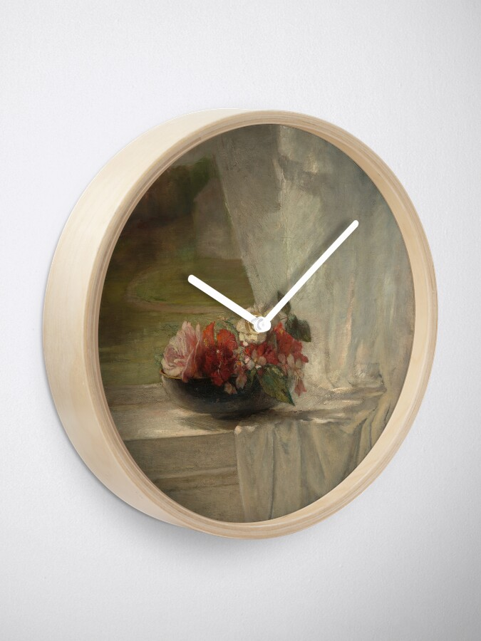 Alternate view of Flowers on a Window Ledge Oil Painting by John La Farge Clock