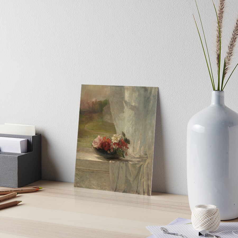 Flowers on a Window Ledge Oil Painting by John La Farge Art Board Print