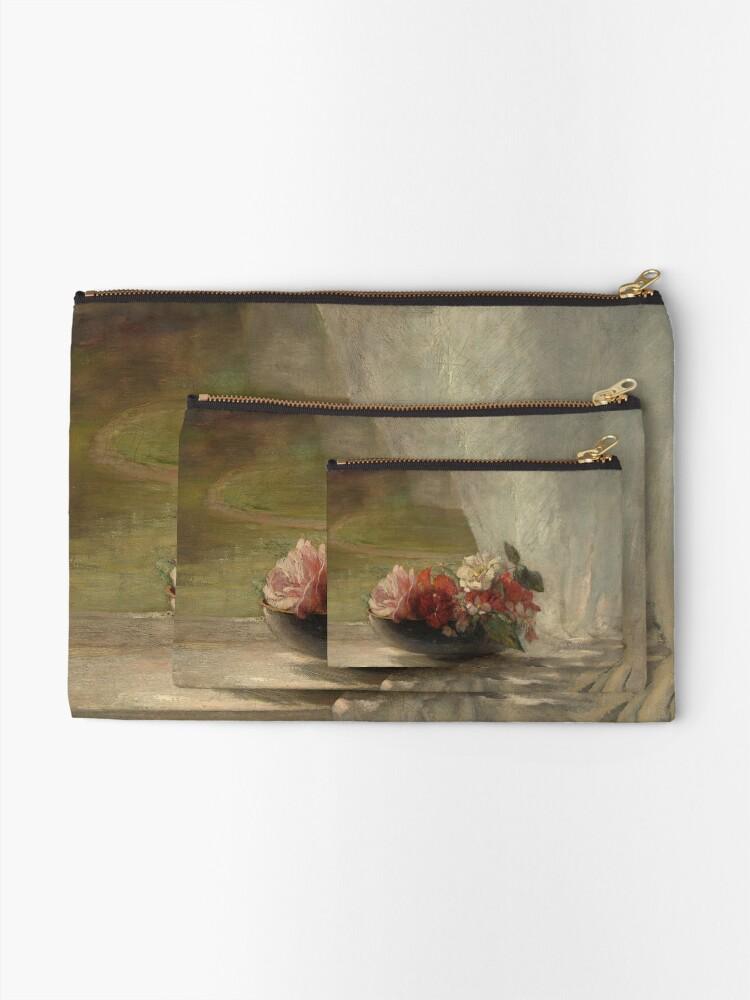 Alternate view of Flowers on a Window Ledge Oil Painting by John La Farge Zipper Pouch